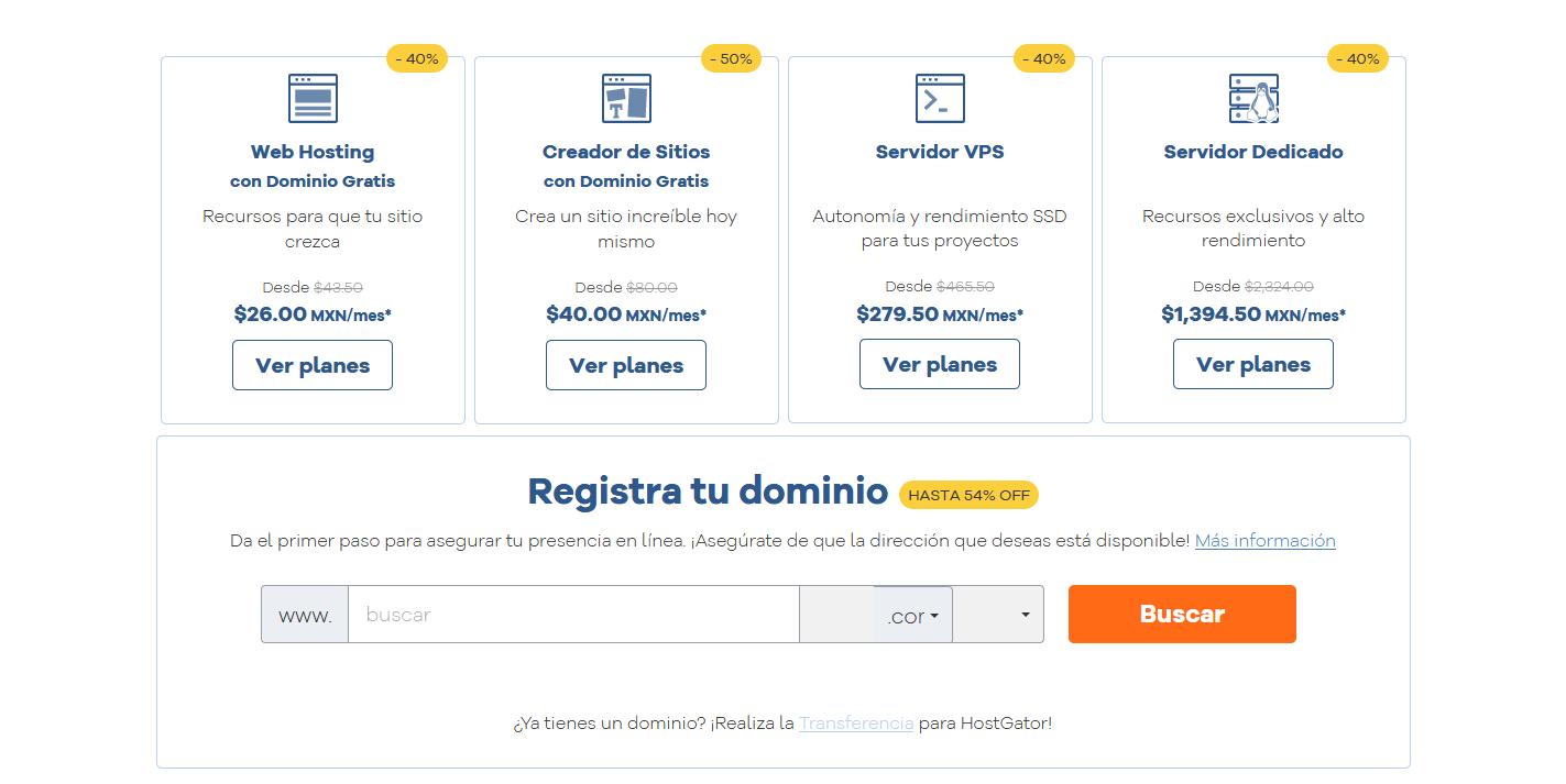 cupones Hosting México Alojamiento Web con Dominio Gratis HostGator