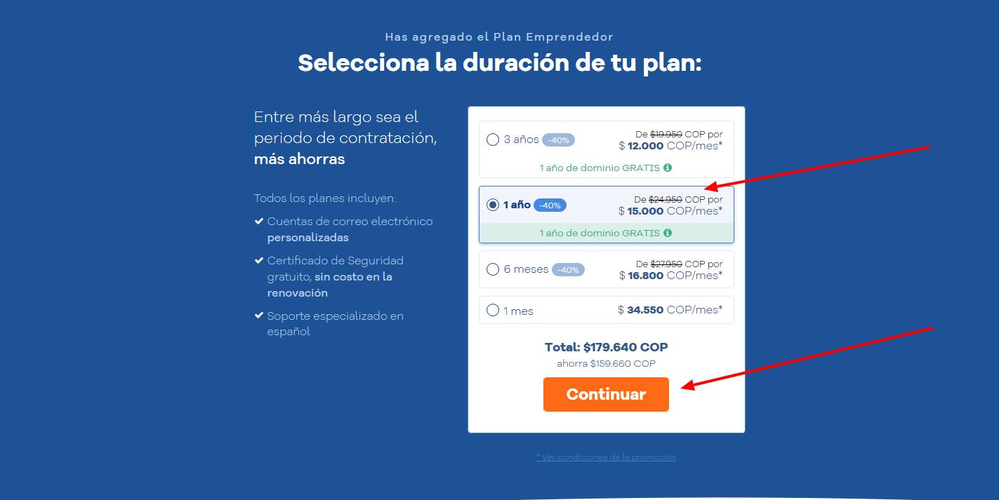 cupones hostgator colombia - cúpon hostgator colombia - Selecciona tu plan de hosting(1)
