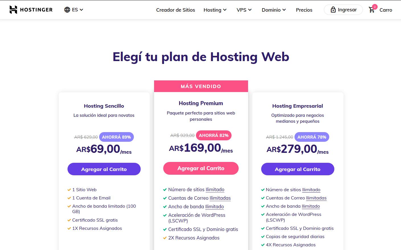 cupones hostinger argentina descuentos - Hosting Argentina Rápido y Potente (10)