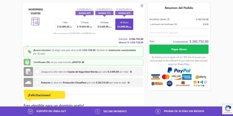 cupón hostinger colombia - formas de pago