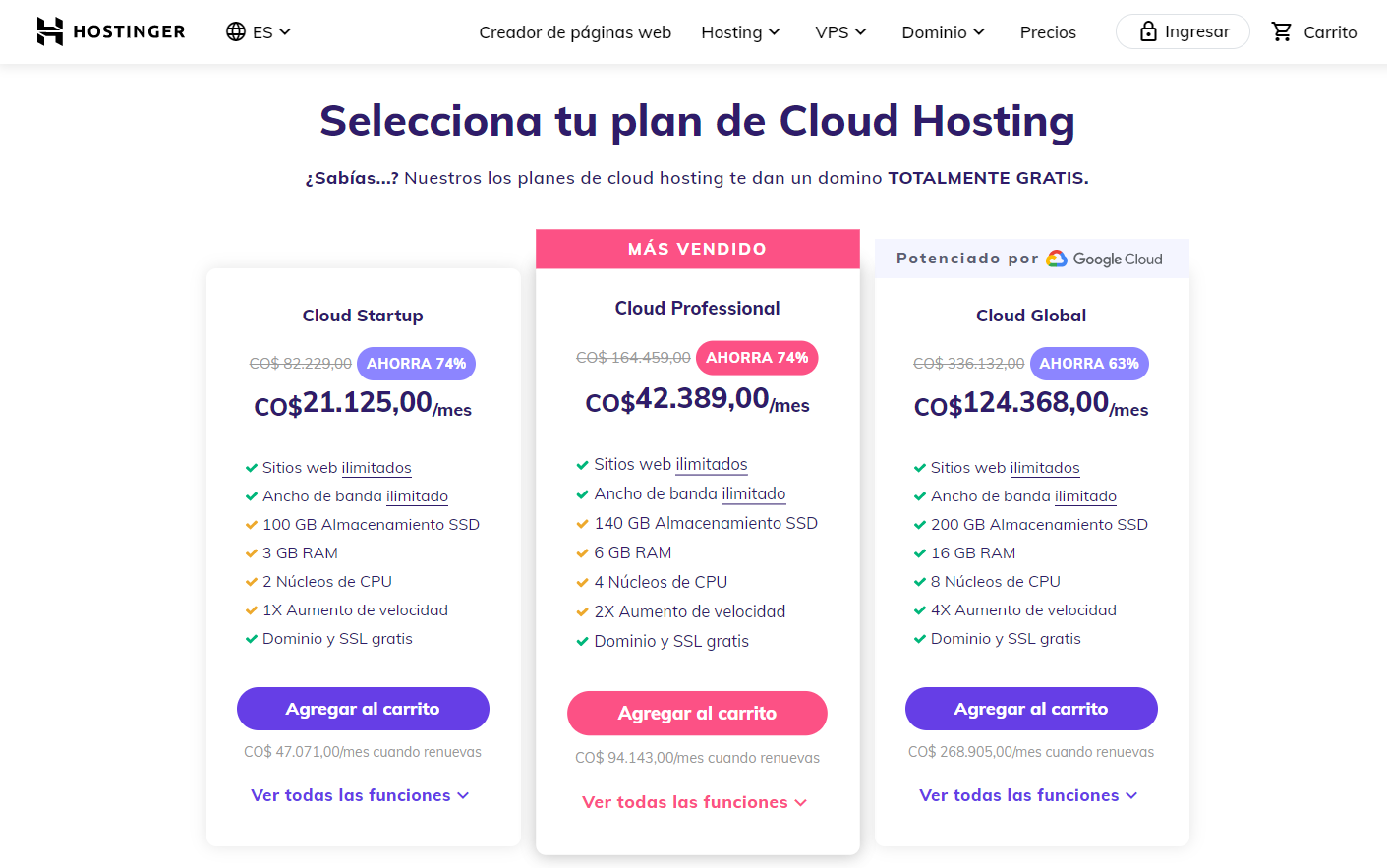 cupón hostinger colombia - hosting cloud