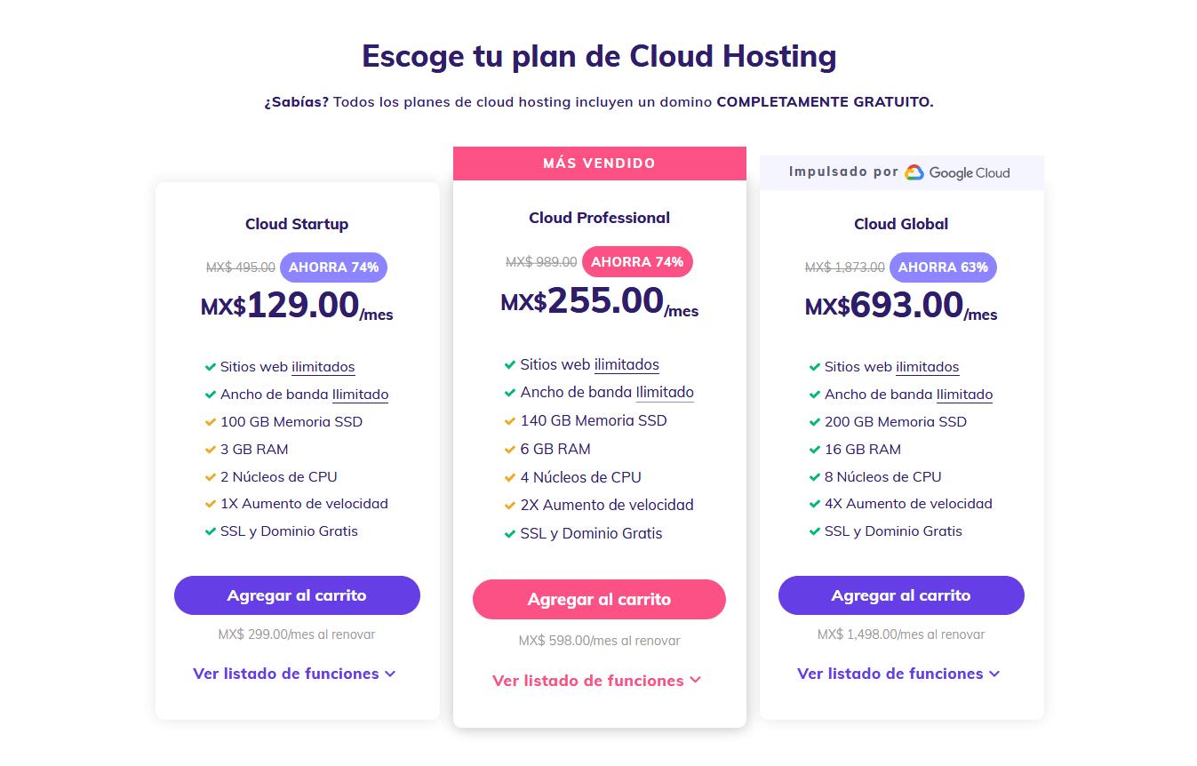 cupones hostinger mexico - cupón hostinger mexico - Cloud Hosting México Aloja +200 Sitios Por MX$129 Mes 2